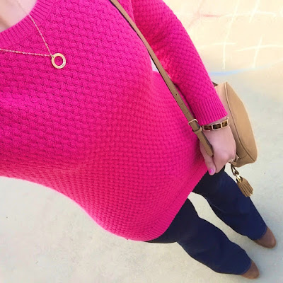 mom style, bright pink sweater, flared jeans