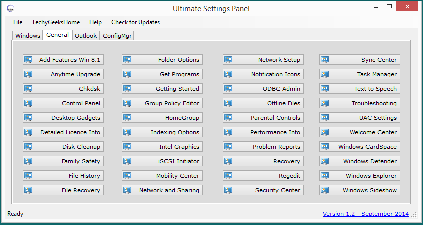 General Tab on Ultimate Settings Panel