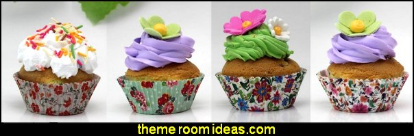 Flower Muffin Liner Cupcake-Liner  flower garden tea party themed decorations - Floral Fiesta garden party decor -  Victorian garden party - backyard tea party -  Vintage tea party decorations - birthday tea party -  Spring garden Party - Victorian High Tea style  entertaining - Tea party decorations