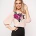 Bluza dama roz prafuit eleganta cu print floral pentru pentru zi si birou
