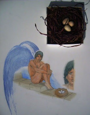dessin,aquarelle,icare,oiseau,rêve,illustration,éros,adolescent androgyne,garçon nu