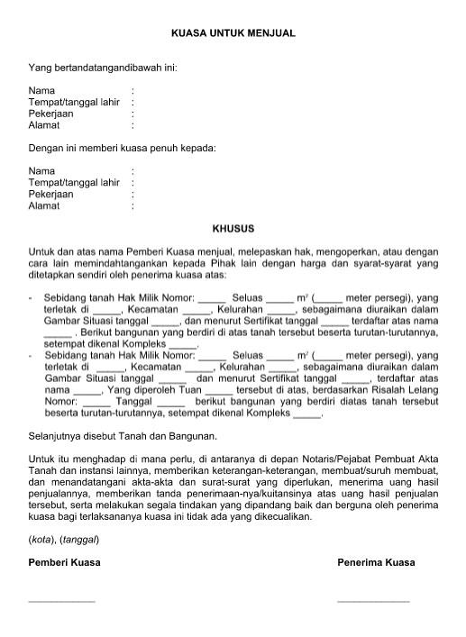 10 Contoh dan Format Surat Kuasa Dalam Bentuk File Word