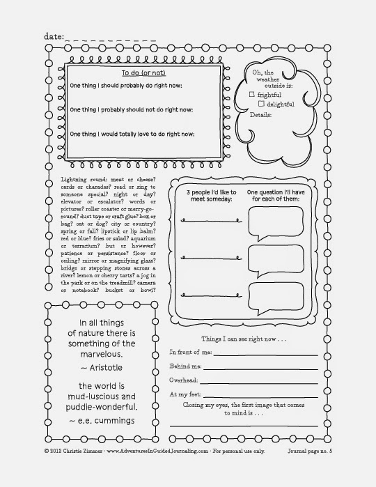 Adventures in Guided Journaling: Printable Journal Pages