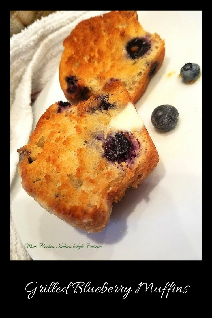 these are grilled  blueberry muffins slathered with butter and loaded with blueberrie. The muffins are toasted and grilled with a rich butter grilling on top