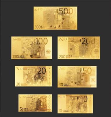 Bộ Tiền Euro Mạ Vàng