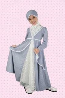 Model baju pesta muslim anak perempuan elegan