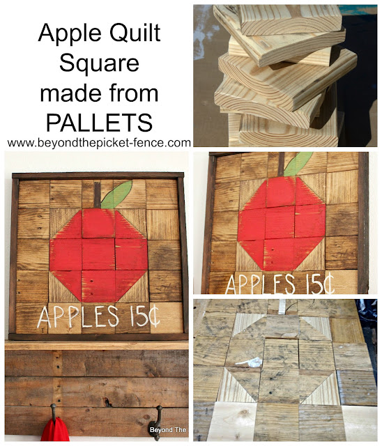make a fall apple quilt square from pallets
