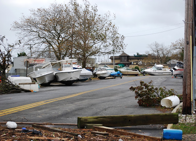 Boats floated off their blocks on Broadway in Point Pleasant