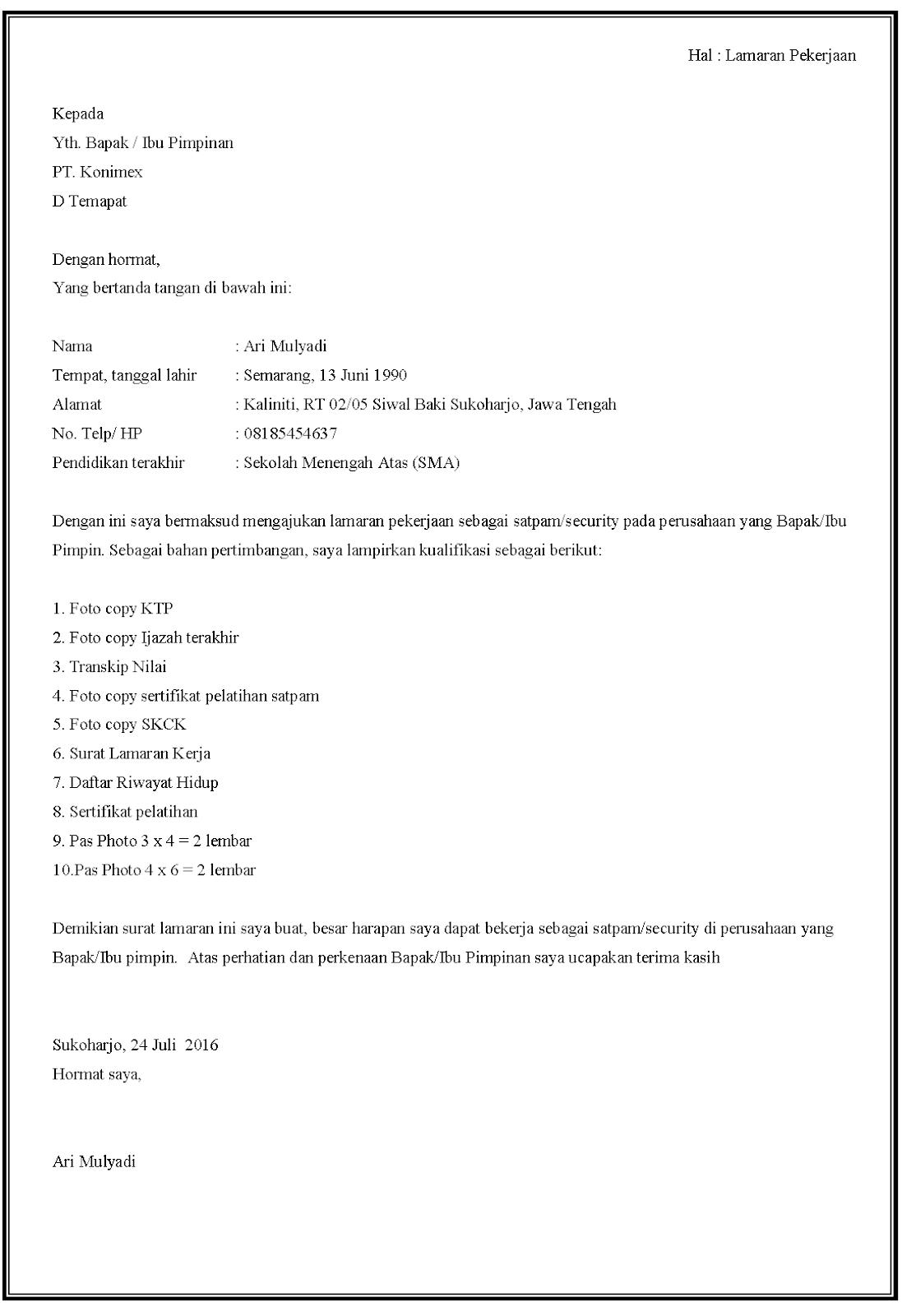Contoh surat lamaran kerja Security di PT konimex