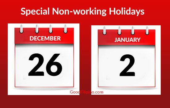 Dec. 26, Jan. 2 declared special non-working holidays