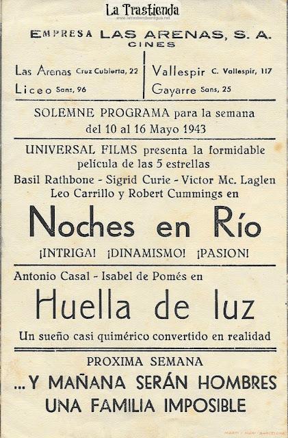 Noches en Rio - Programa de Cine - Basil Rathbone - Sigrid Gurie - Victor MacLaglen - Robert Cummings