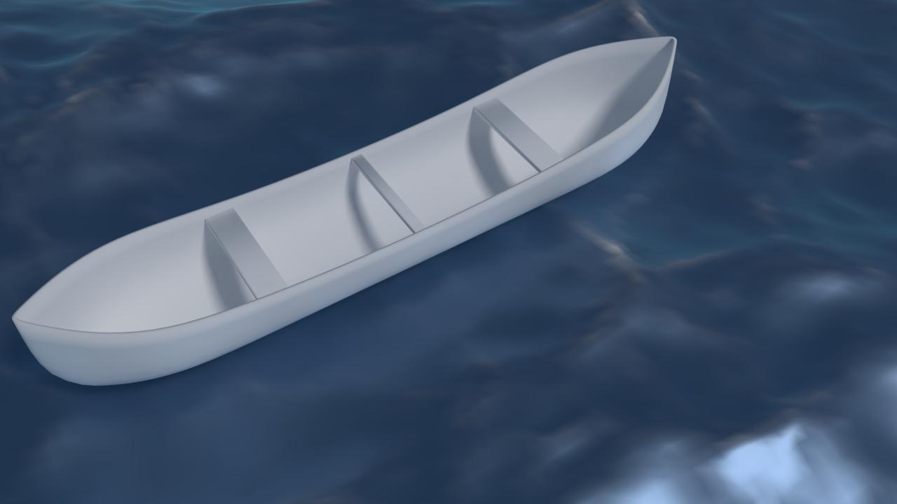 Free 3D White Canoe .blend
