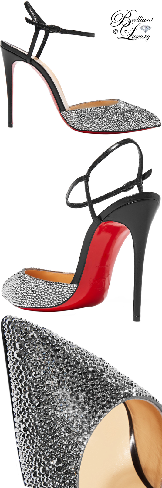 Brilliant Luxury ♦ Christian Louboutin Riverina Riverina Ankle-Strap Slingback Pumps