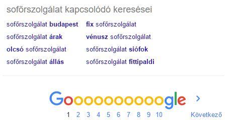 A sofőrszolgálat kulcsszó kapcsolódó kulcskifejezései a Google keresőben