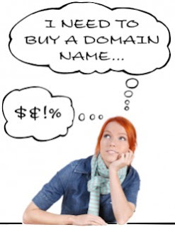 A woman thinking about buying a domain name