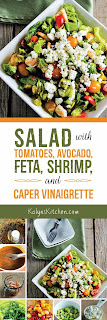 Salad with Tomatoes, Avocado, Feta, Shrimp, and Caper Vinaigrette found on KalynsKitchen.com
