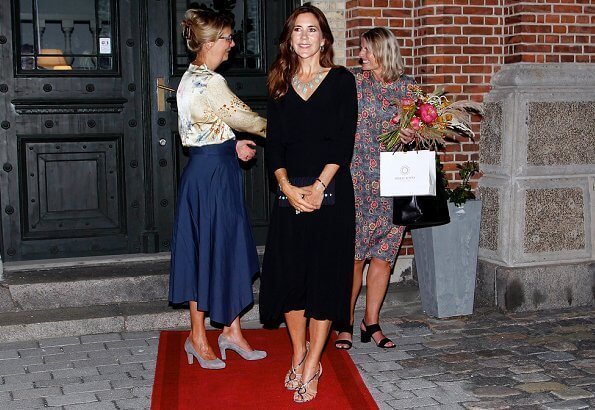 Crown Princess Mary wore ba&sh Lucia dress and Alexandre Birman Braided sandals