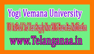 Yogi Vemana University UG 1st/2nd / 3rd Year Supply Nov 2016 Exam Fee Notification