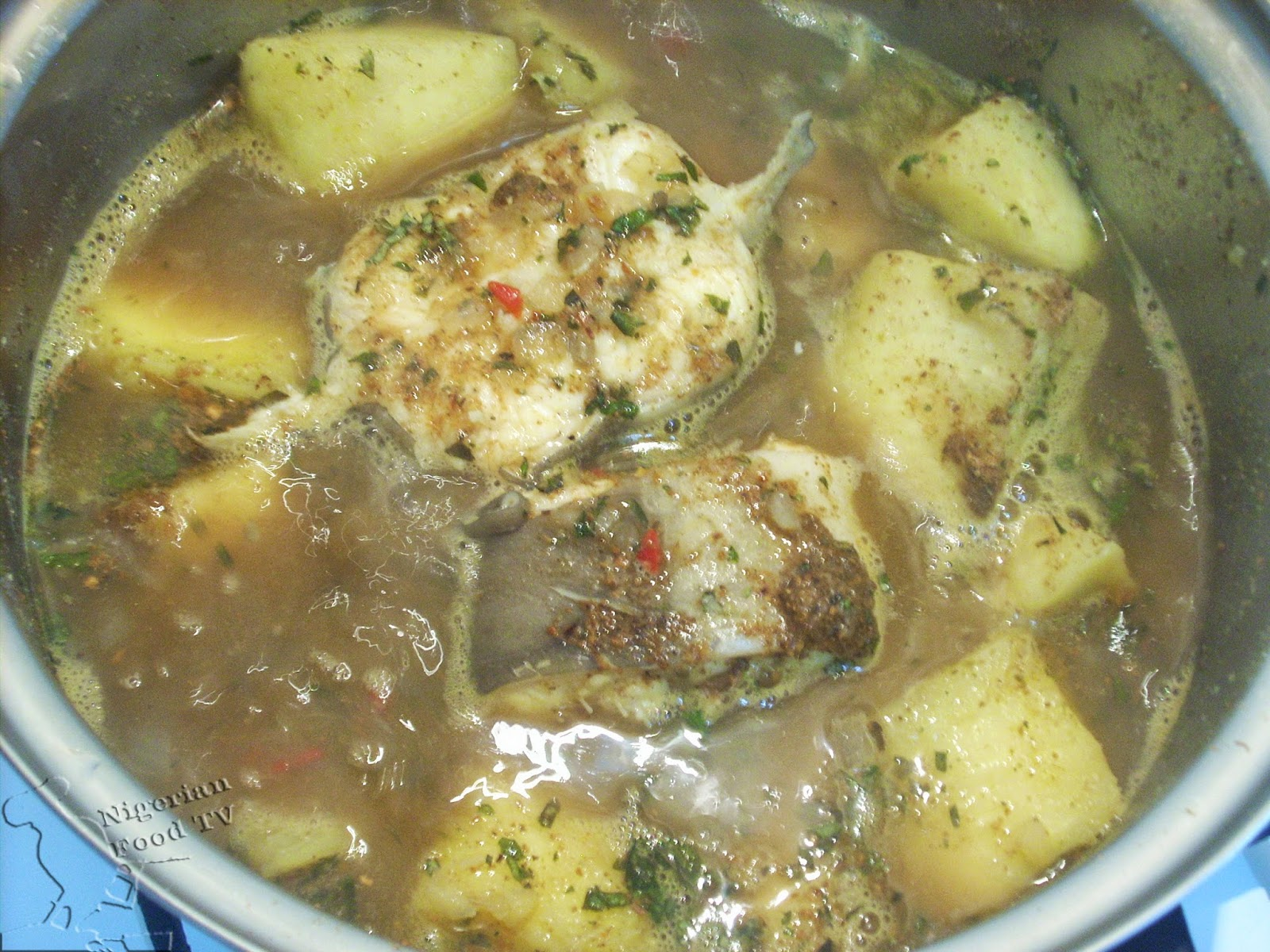 yam, fish, spices Nigerian Yam and Fish Pepper Soup