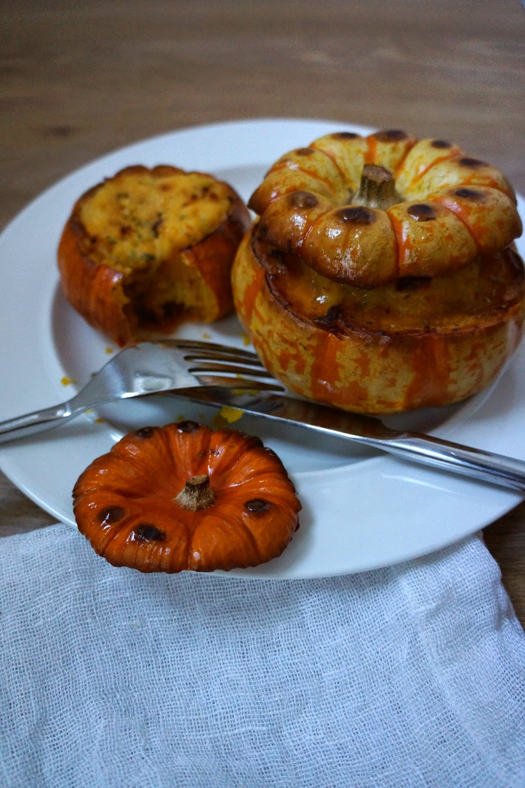 sweet potato cheddar stuffed baked pumpkin