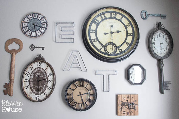 Gallery wall of clocks from Bless'er House #gallerywall #decorating #decoratingideas #andersonandgrant