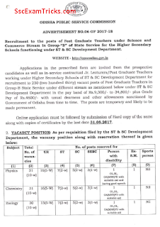 Odisha PSC Jr Lecturer PGT Recruitment
