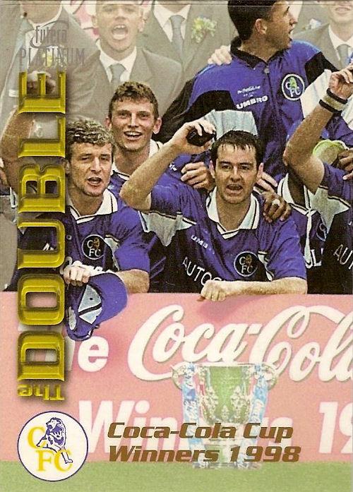 Futera PLATINUM el doble Chelsea 1998 DB2 borde De Plata Mark Hughes no