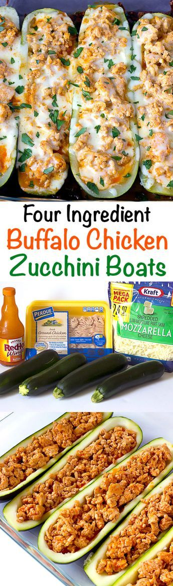 4 Ingredients Buffalo Chicken Zucchini Boats