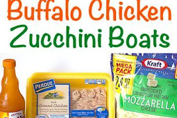 4 Ingredients Buffalo Chicken Zucchini Boats