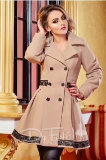 palton de dama de calitate de iarna bej foarte elegant
