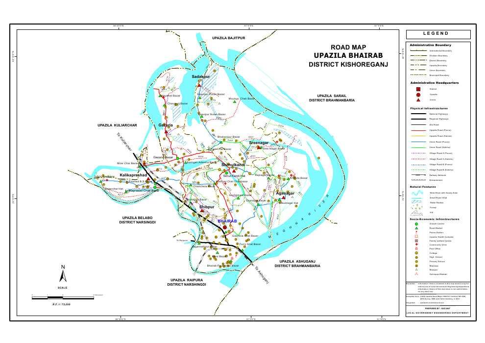 Bhairab Upazila Road Map Kishoreganj District Bangladesh