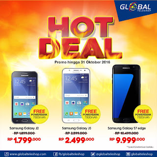 Global Teleshop Galaxy J2 , J5 dan S7 edge Bonus Powerbank 7800 mAH