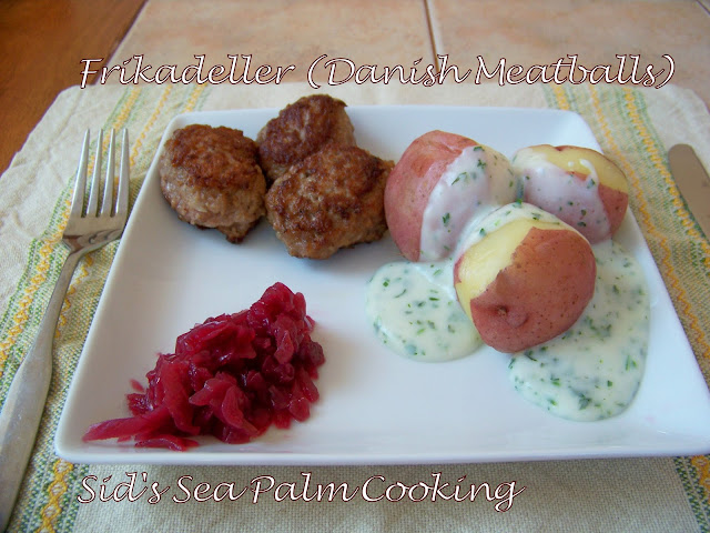 Frikadeller with New Potatoes, Parsley Sauce and Red Cabbage