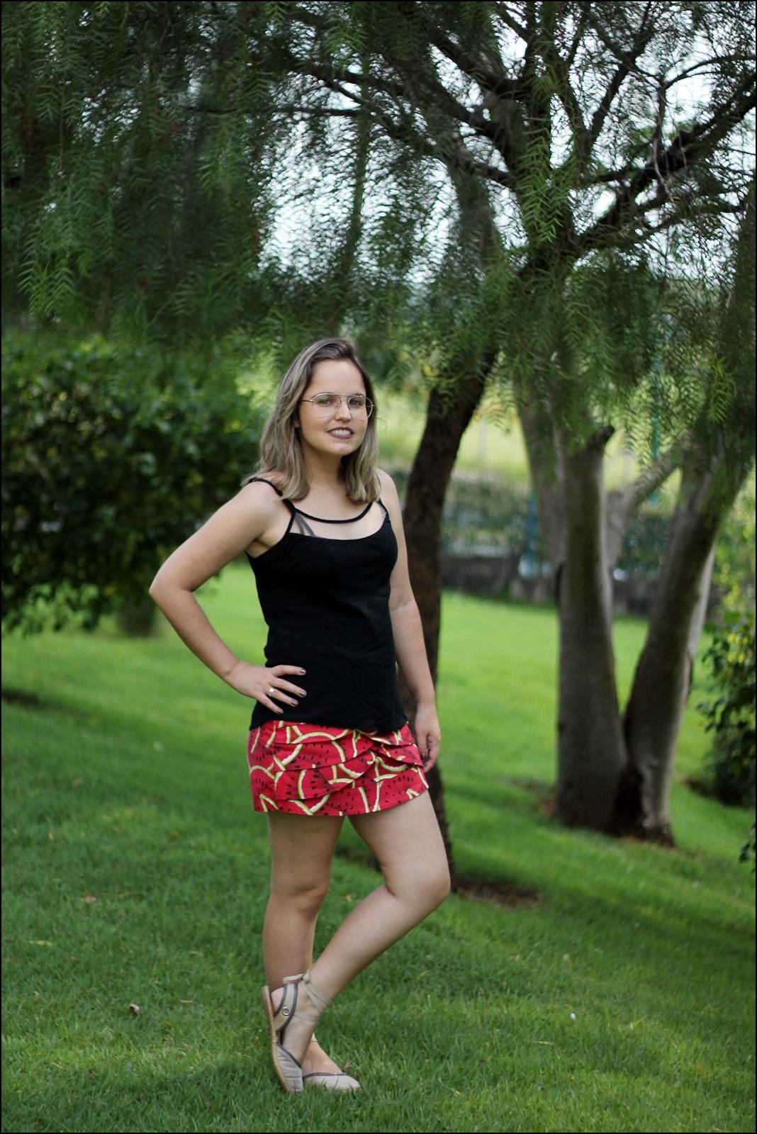 shorts com estampa de melância