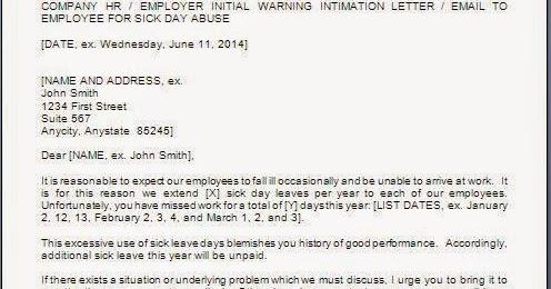 Excessive Sick Leave Warning Letter