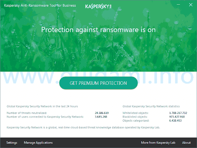 Kaspersky Anti-Ransomware Tool for Business schermata iniziale