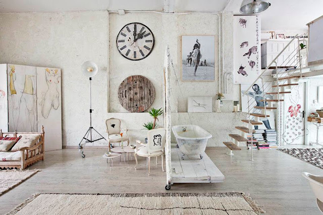 Interior un estudio en blanco vintage decoraci n for Decoracion vintage romantica