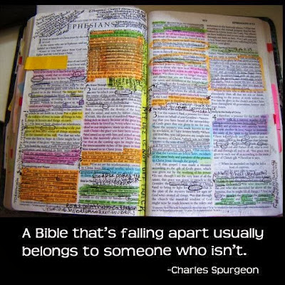 Worn Bible with Spurgeon quote