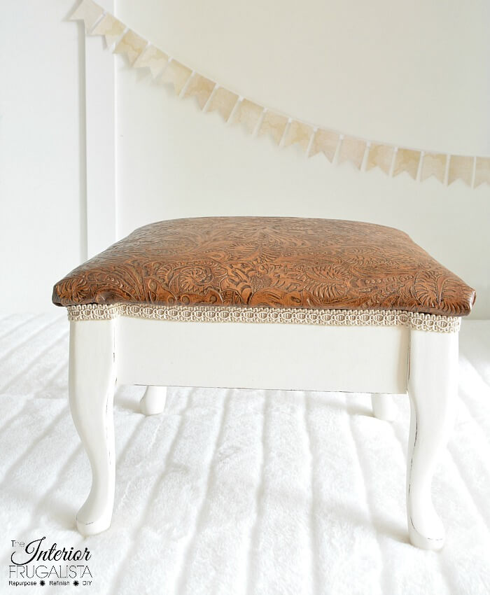 Embossed Leather Footstool After
