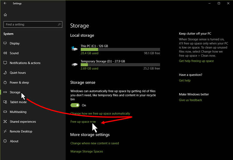 Windows 10 disk cleanup functionality will be available in storage settings