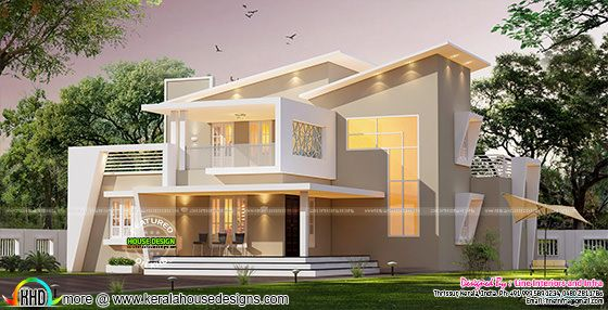 New ultra modern slanting roof mix home