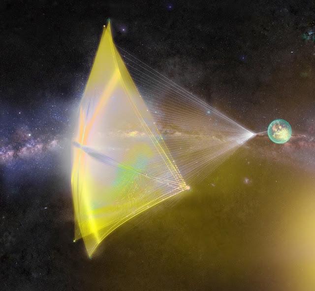 Mô phỏng những nanocraft được gởi đi bằng tia laser từ Trái Đất.