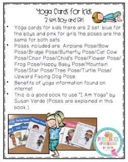 Yoga Cards For Kids 2 Sets A Boy And Girl Set Preschool Printables