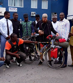 UNBELIEVABLE: Man Rode Bicycle From Denmark To Nigeria, He's Now In Cross River; See Photos