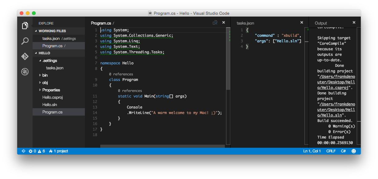 Visual Studio Solution in Visual Studio Code on OSX