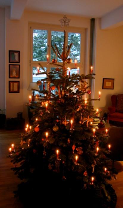 Stringing Lights On A Christmas Tree