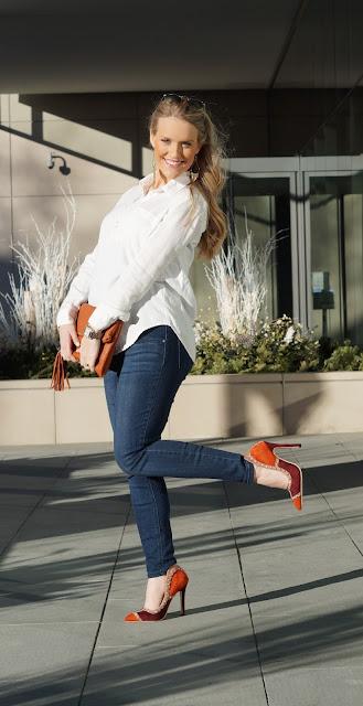 chicago blogger fashion casual stud heels