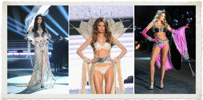 Sui he Cameron Russell Lily Donaldson nella sfilata in lingerie del Victoria's Secret Fashion Show 2012
