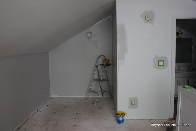 paint, grey paint, carpet removal, tools, remodel DIY, http://bec4-beyondthepicketfence.blogspot.com/2015/07/attic-room-renovation-how-to-remove.html