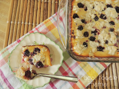 Blackberry Coconut Custard Cobbler, shared by Frugal Foodie Mama at the Chicken Chick's Clever Chicks Blog Hop